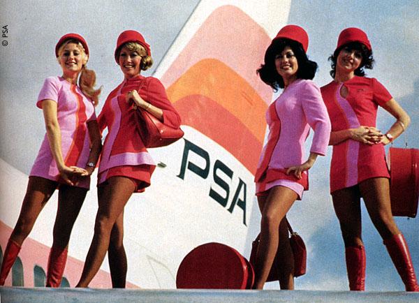 Pacific Southwest Airlines stewardesses. Image via www.psa-history.com.